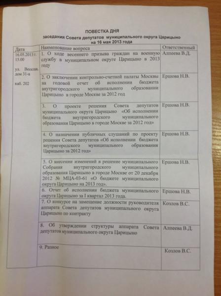 Повестка дня заседания Совета депутатов Царицино