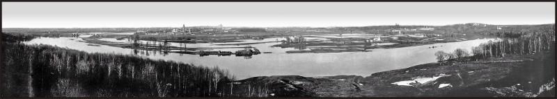 Обратный вид - панорама 1908г. Москва и Лужники. Весенний разлив. Сильно кликабельно.