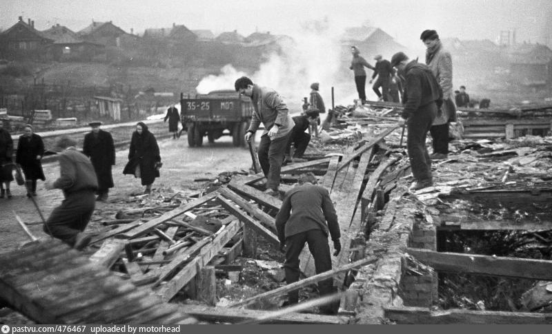 Разрушение деревни.