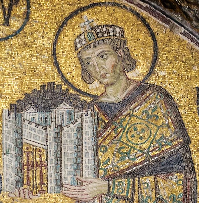 Константин Великий приносит Город в дар Богородице (мозаика). Айя София, около 1000 г.