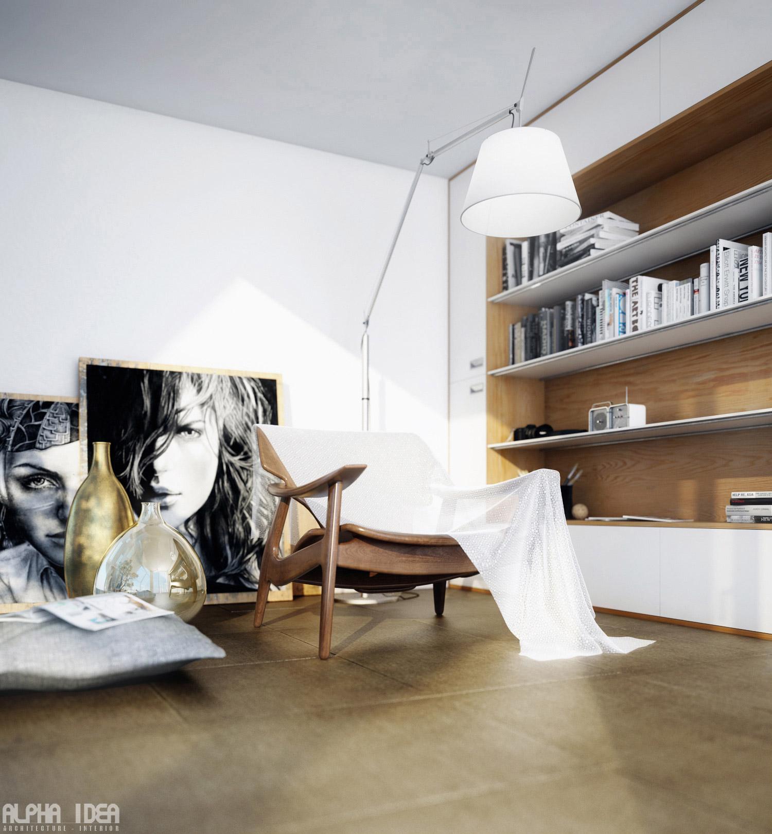 Recessed-bookcase