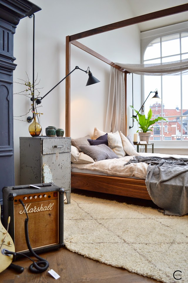 THE LOFT AMSTERDAM PLAYING CIRCLES DECEMBER 2014 BY C-MORE INTERIOR BLOG BED LAMP CABINET LAMBS WOOL WINDOWS RUG VINTAGE WOOD FLOOR
