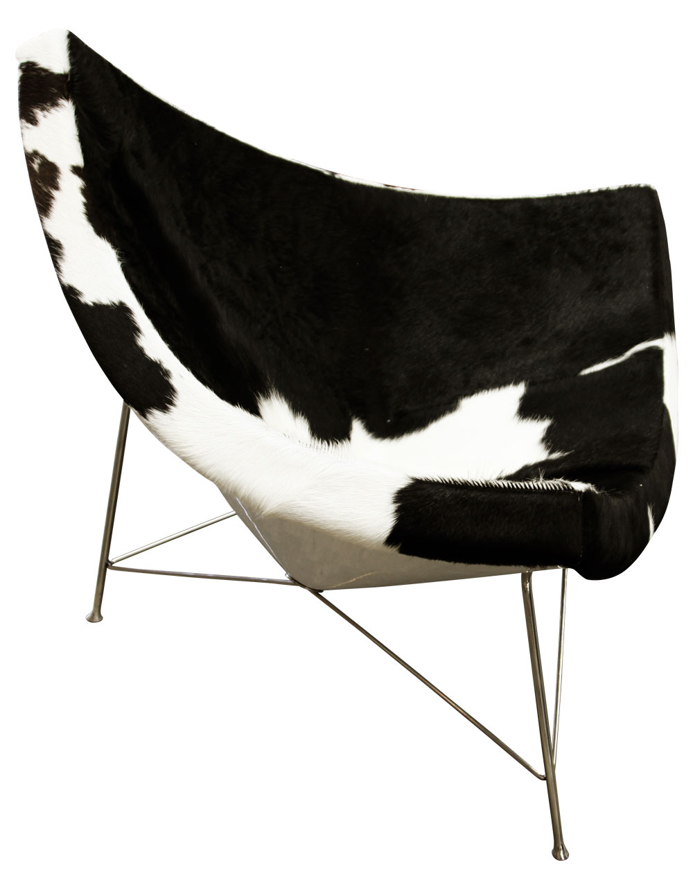 Classics Nelson Coconut chair in black and white cowhide