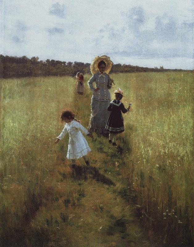 И.Е. Репин В.А.Репина с детьми идёт по меже