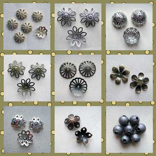Новые розетки для бусин и металлическая бусина Звездная Пыль черная в интернет магазине Бусины.Ру!
