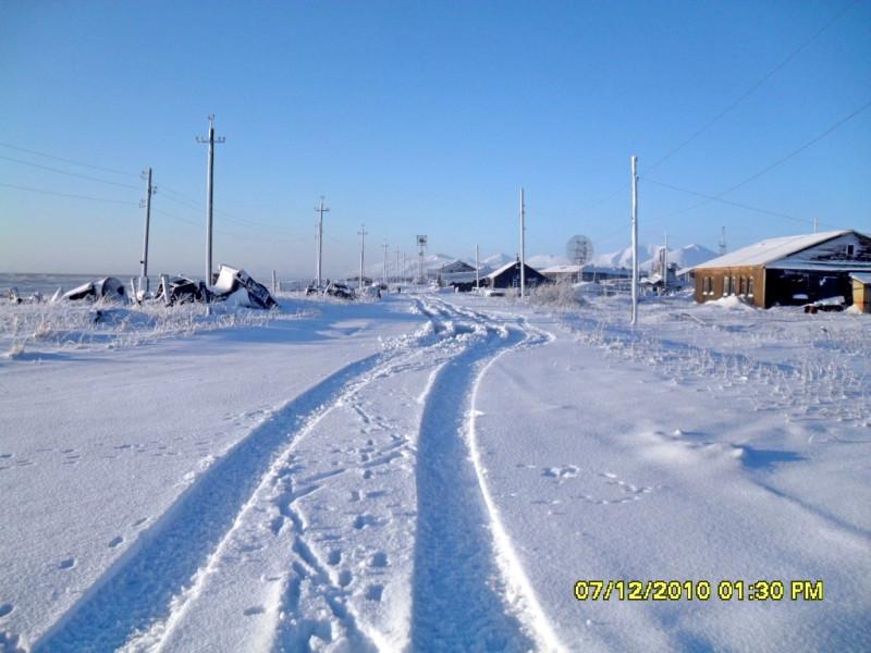Камчатка Пахачи снег дорога берег Олюторского залива