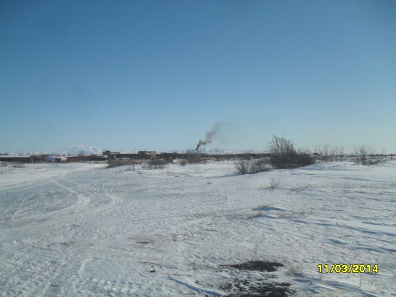 Камчатка село Пахачи март 2014 снег труба котельной дым