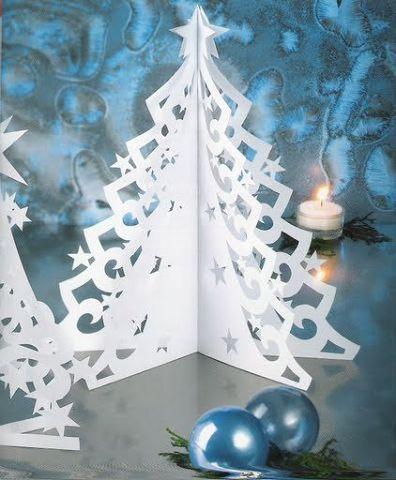 Объемные елки из бумаги к новому году