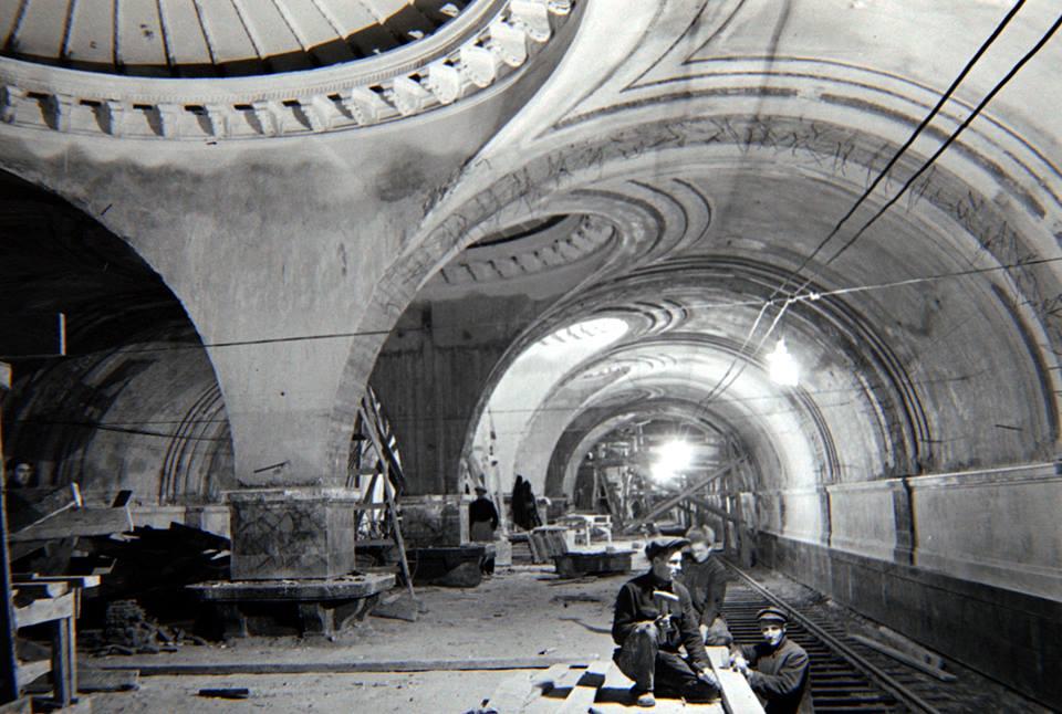 Метро Сокол. На строительстве станции Сокол, 1938 год.