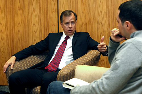 Ambassador Davies interviewed by Kommersant's Alexander Gabuyev at the U.S. Embassy