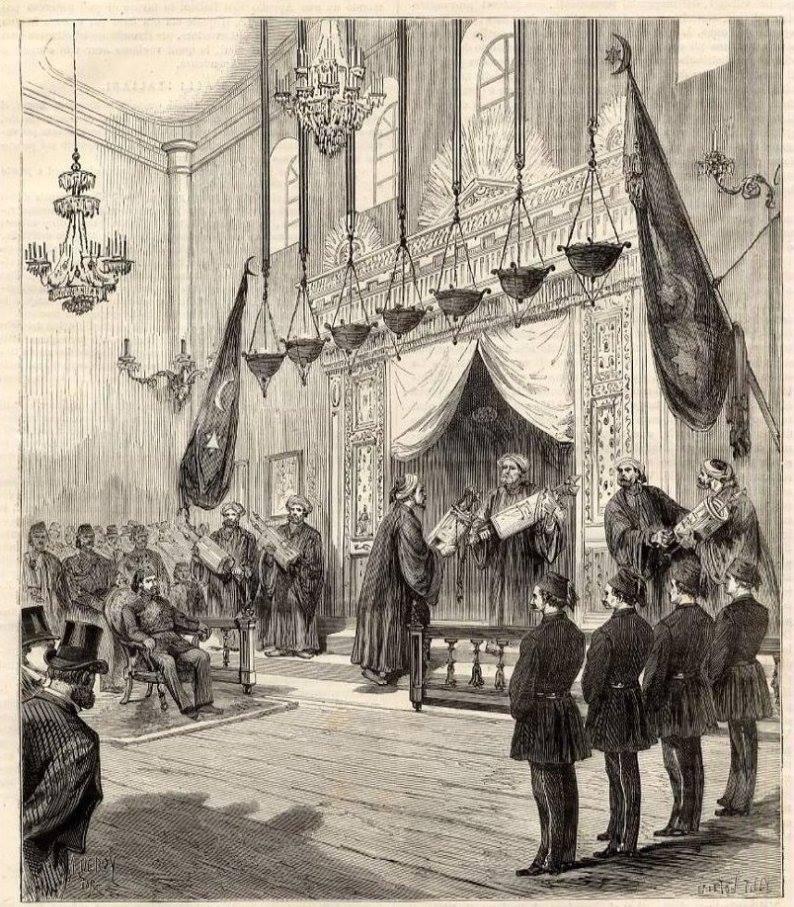 ahrida sinagogu'nda, rusya ile savaşa giden osmanlı askerlerine dua 1877/78.