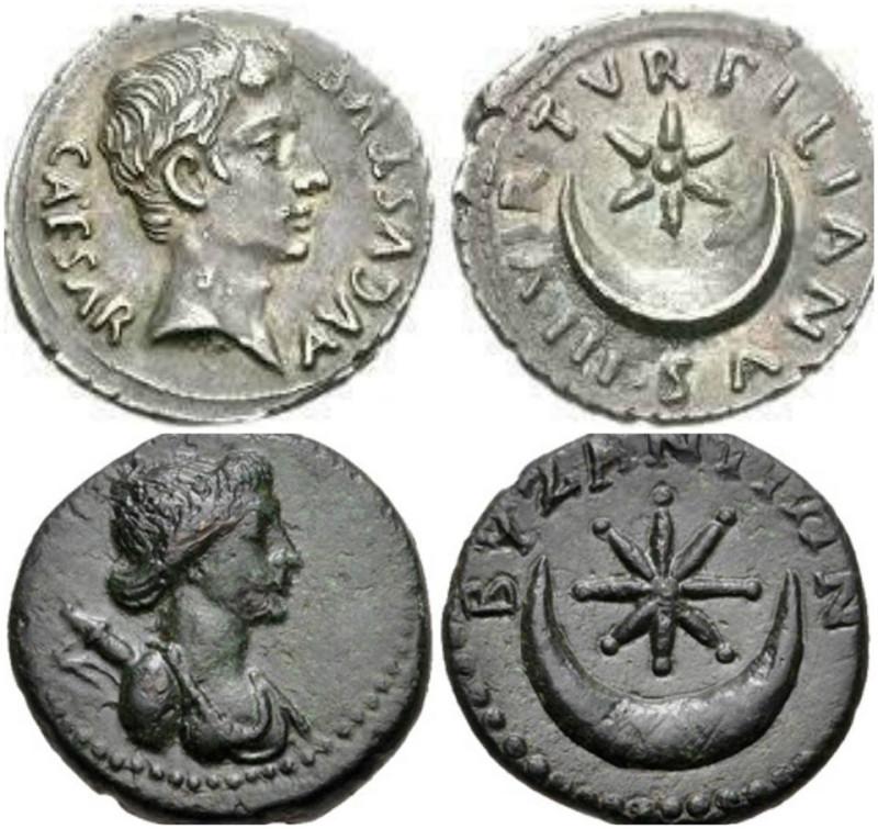 sezar agustus sikkesi i.ö. 27-i.s. 14, ve bizans sikkesi, 1. yüzyıl