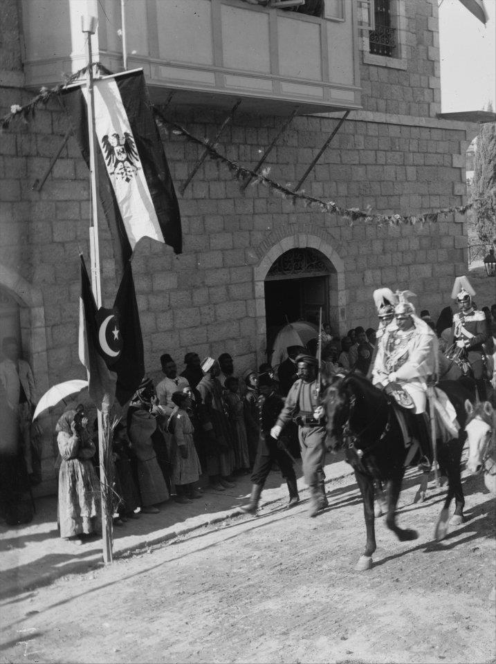 kayser wilhelm'in filistin ziyaret, 1889. alman bayrağı osmanlı bayrağının üstünde