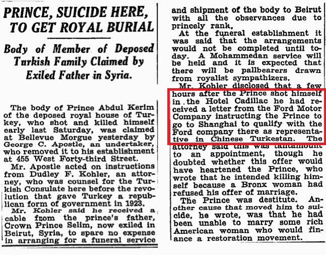 abd ford firması, şehzade abdülkerim'i ölümünden az önce çin türkistanı temsilcisi olarak şangay'a göndermek istemiş