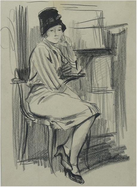 Фитингоф Георгий Девушка в черной шляпе 1958