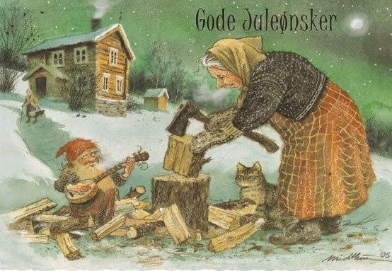 K Midthun. Gnome and Woodchopper, vintage Scandinavian Christmas greeting card.jpg