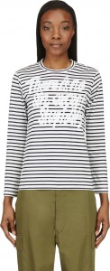 White & Navy Striped Motto T-Shirt 190_57