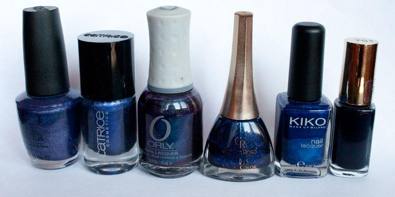 OPI-NN-B61-Ink-Suede,-Catrice-66-Blue-And-A-Half-Men,-Orly-40743-Royal-Velvet,-Golden-Rose-314,-Kiko-266-Ultramarine-Blue,-Loreal-701-Midnight-Mistress
