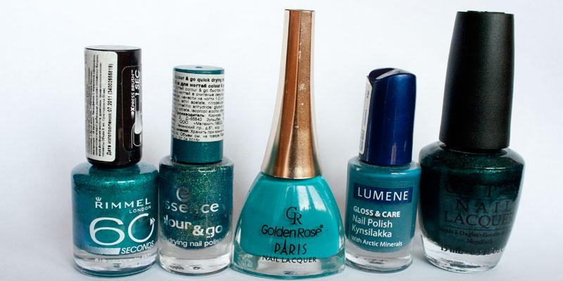 Rimmel-819-Green-with-envy,-Essence-38-Choose-me!,-Golden-Rose-245,-Lumene-37-Hazy-beach,-OPI-NL-Z22-Cuckoo-for-this-color