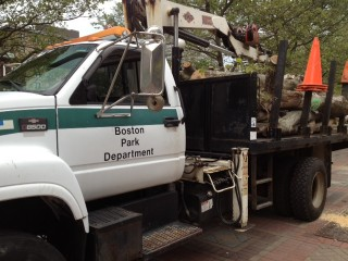 Boston Park Department Truck in Copley Square