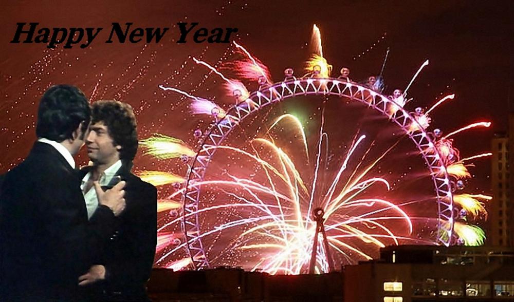 Happy New Year mit Schrift Vergrößert