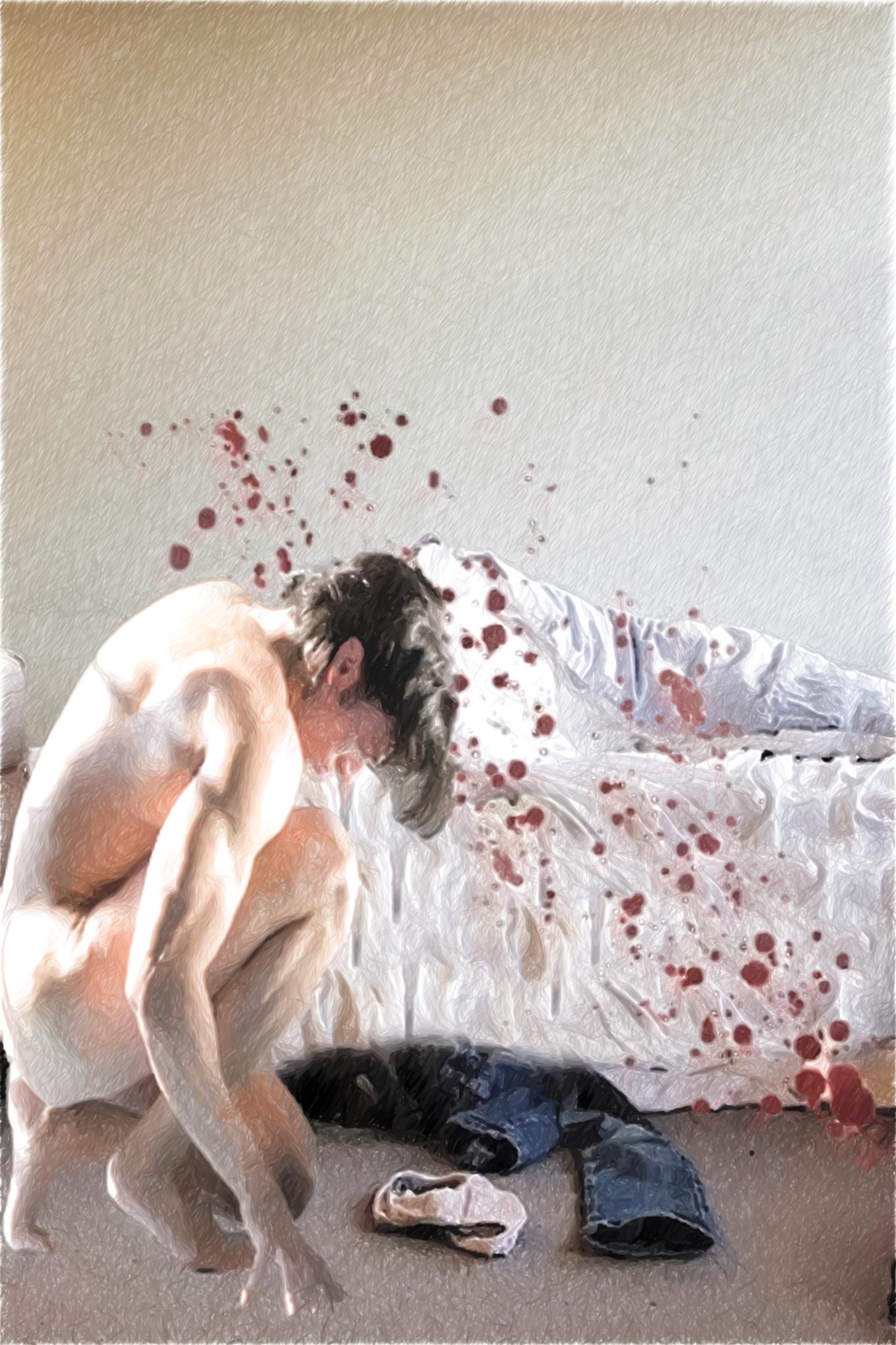 Junger Mann vor bett mit doppeltem blut-groß meticulous