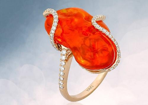 Кольцо с огненным опалом