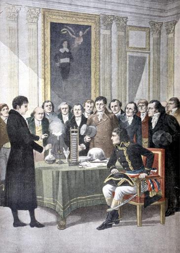 Вольта демострирует свое изобретение Наполеону, 1801 год.