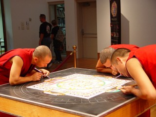 Monks concentrating