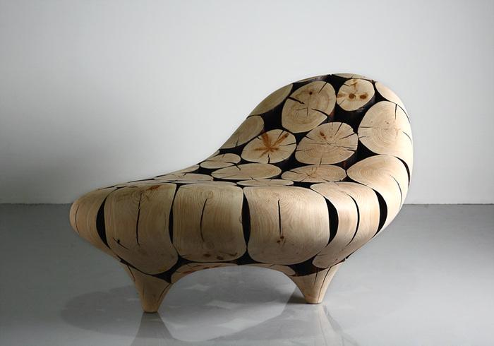 Работы корейского дизайнера Jae Hyo Lee — мебель и элементы декора из обработанных сосновых бревен.