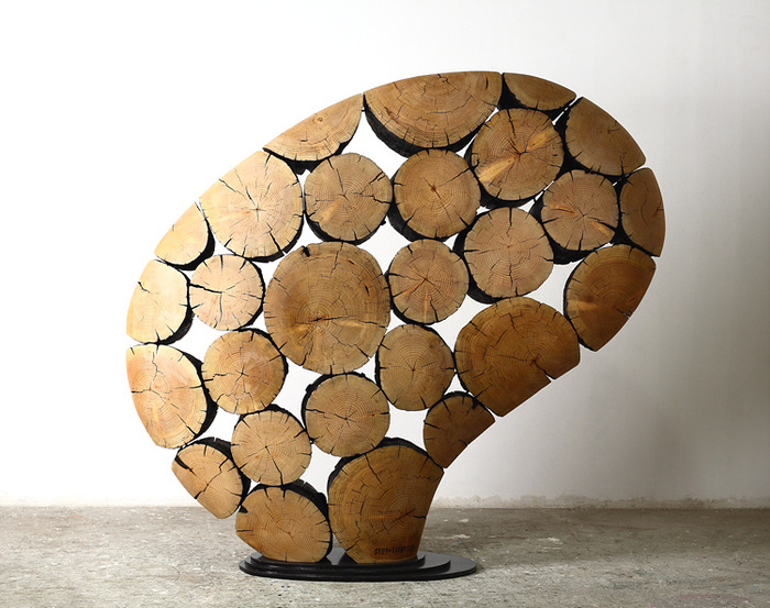 Работы корейского дизайнера Jae Hyo Lee — мебель и элементы декора из обработанных сосновых бревен. 2