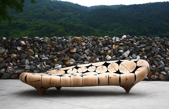 Работы корейского дизайнера Jae Hyo Lee — мебель и элементы декора из обработанных сосновых бревен. 3