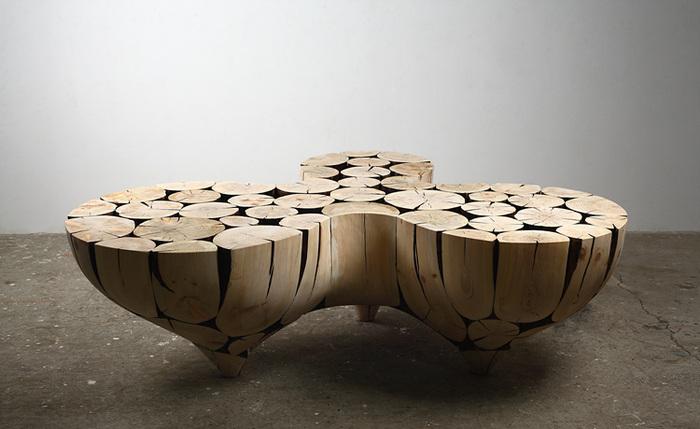 Работы корейского дизайнера Jae Hyo Lee — мебель и элементы декора из обработанных сосновых бревен. 6