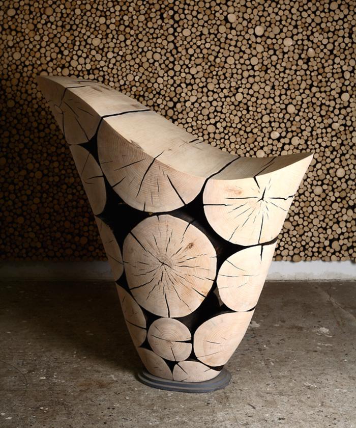 Работы корейского дизайнера Jae Hyo Lee — мебель и элементы декора из обработанных сосновых бревен. 7