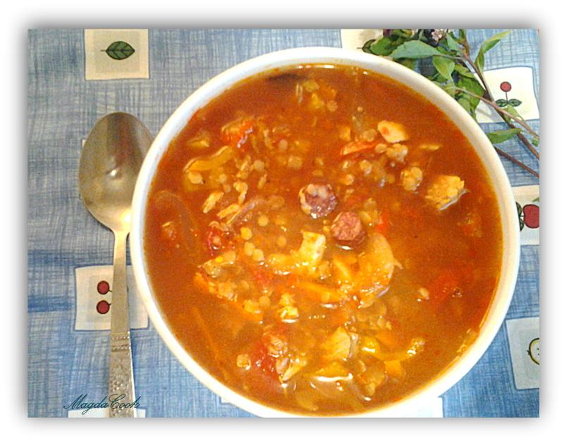 суп с томатами, чечевицей и охотничьими колбасками (1)