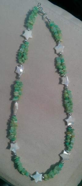 Chrysoprase and shell stars necklace