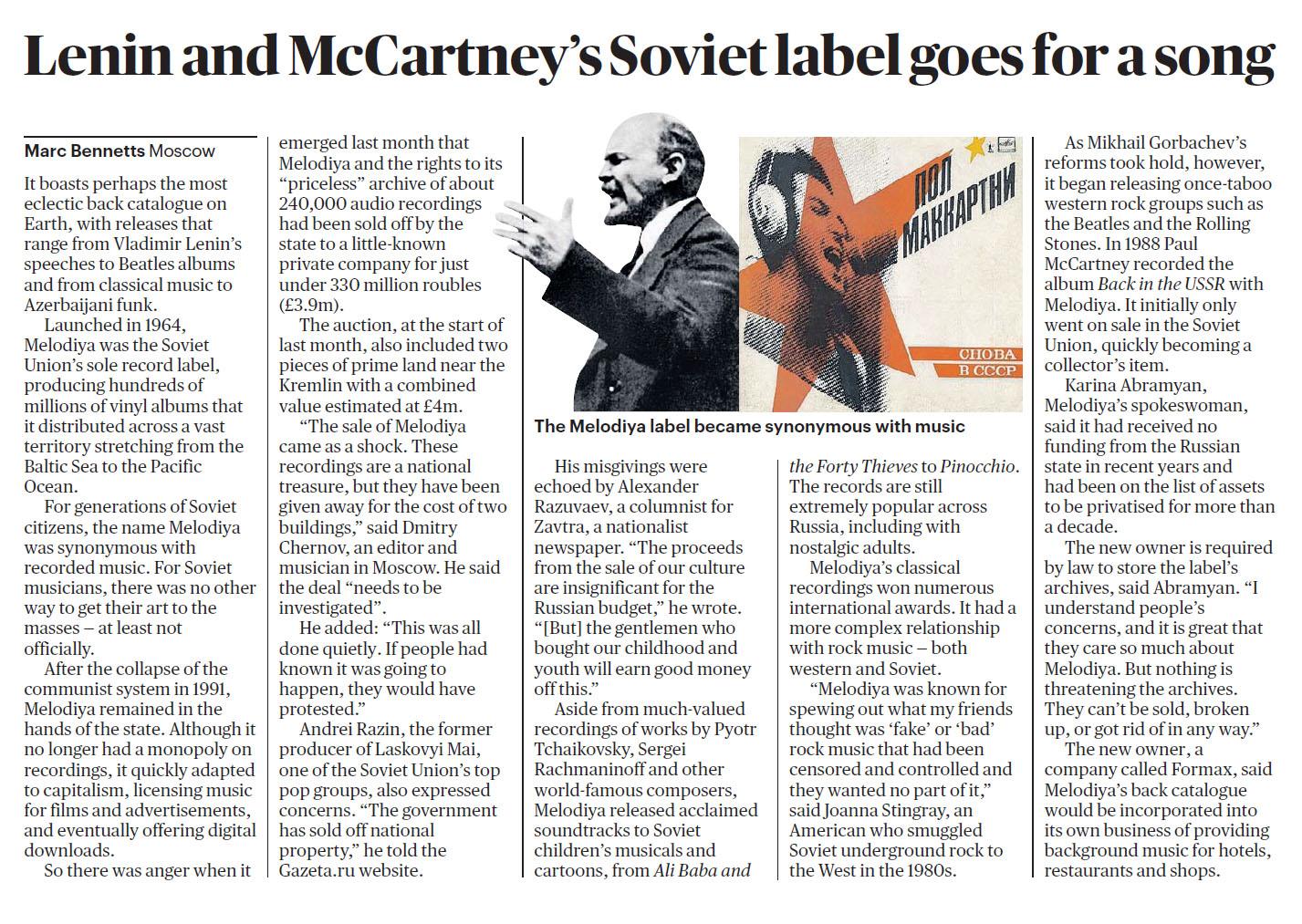 Sunday Times 200301 Melodiya.jpg