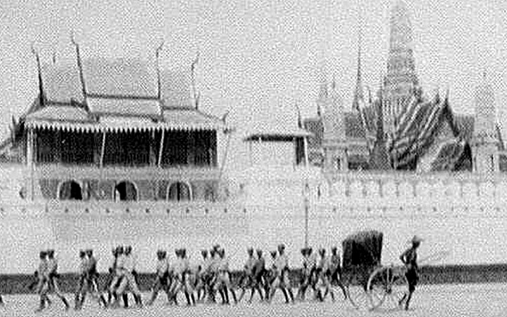 1895 Soldiers marching along the front wall gate of the Royal Palace.jpg