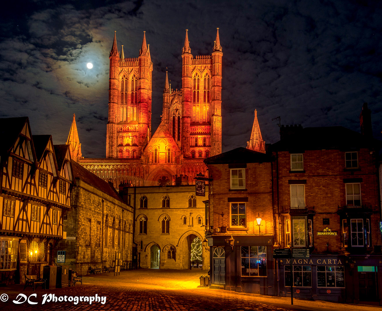 Lincoln Cathedral lit-up red for Christmas by David Chapman.jpg