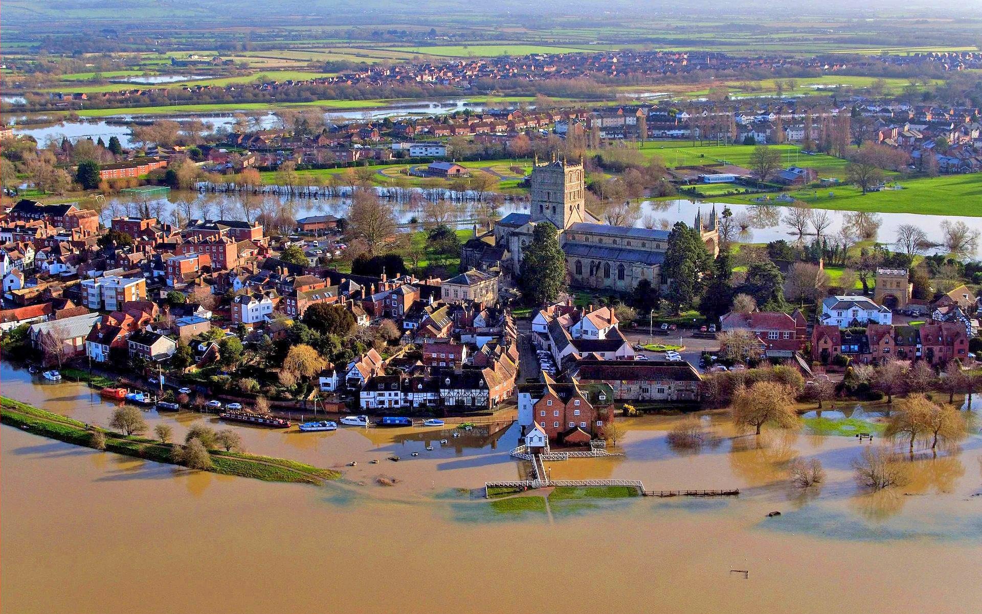 Tewkesbury, Gloucestershire under the floods by Steve Parsons.jpg