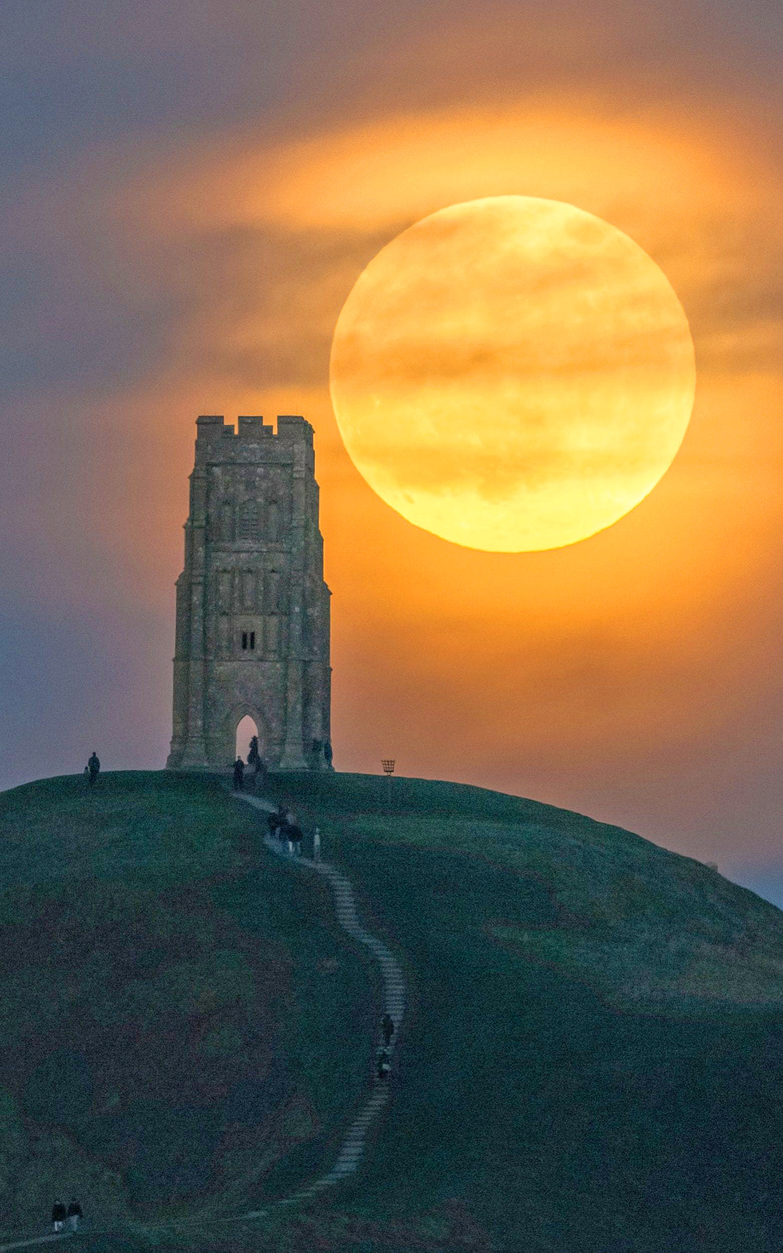 The Wolf Moon rises over Glastonbury Tor in Somerset by Nick Bull.jpg