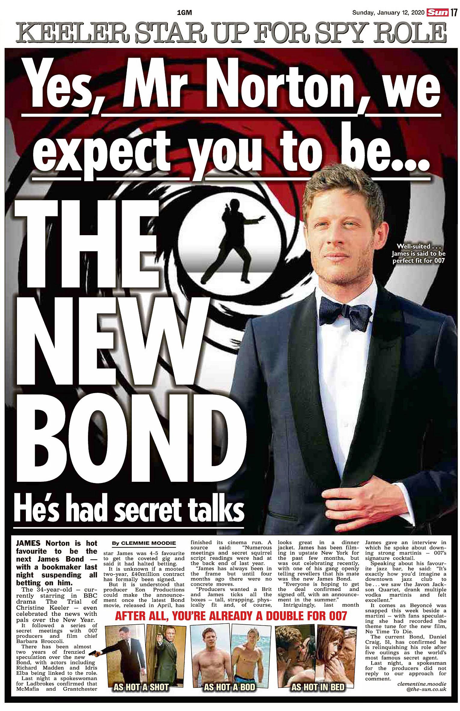 The Sun UK  12 January 2020 Bond.jpg