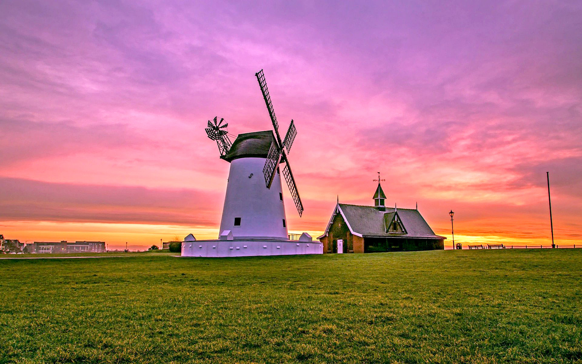 Sunrise over the windmill in Lytham St Annes, Lancashire by Gregg Wolstenholme.jpg