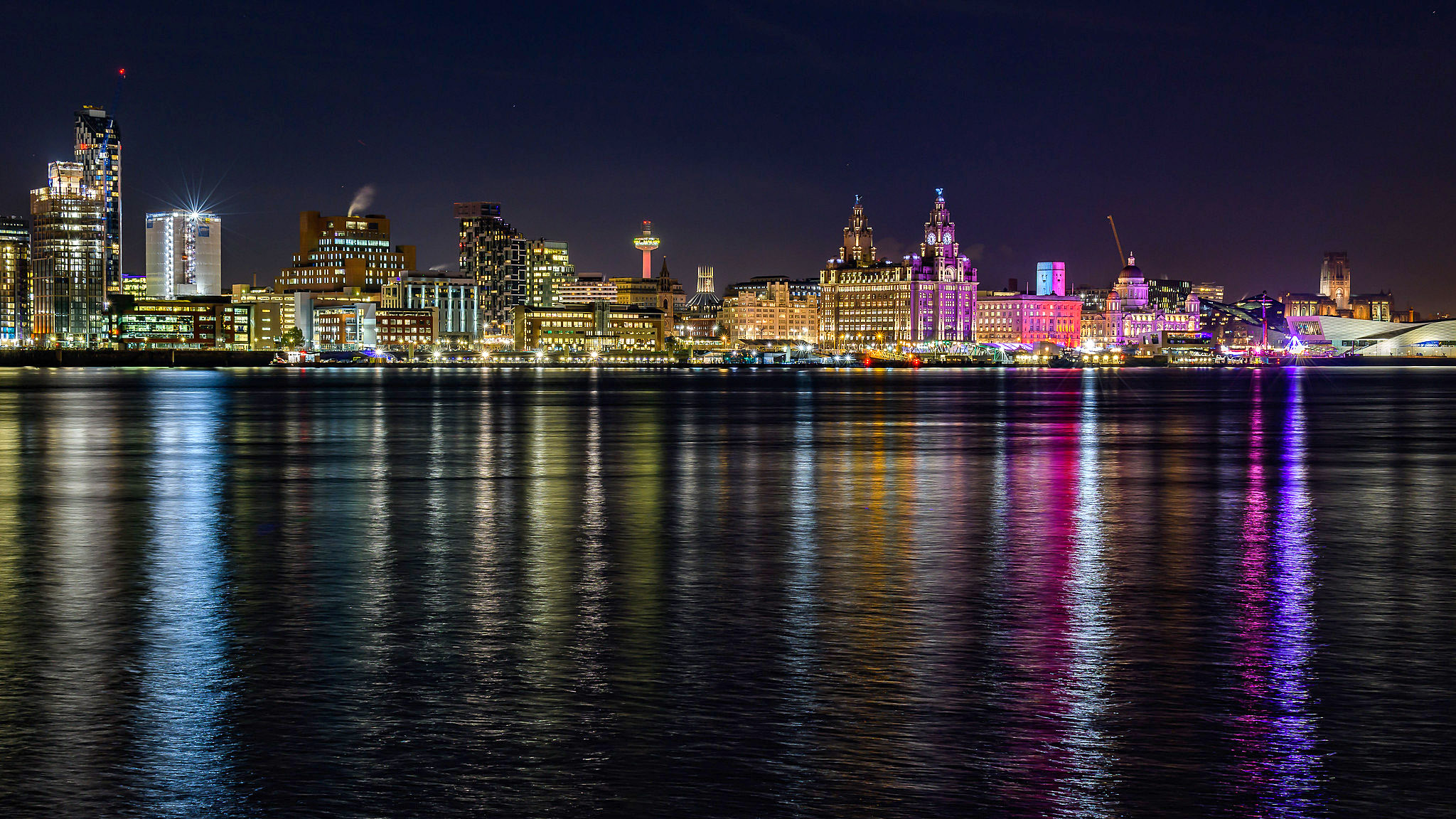 Liverpool Waterfront at night from Seacombe Ferry Terminal by Paul Lee.jpg