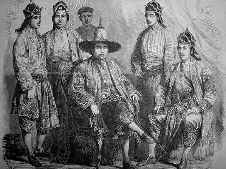 1885 Drawing depicting the Siamese Ambassadors to Paris.jpg