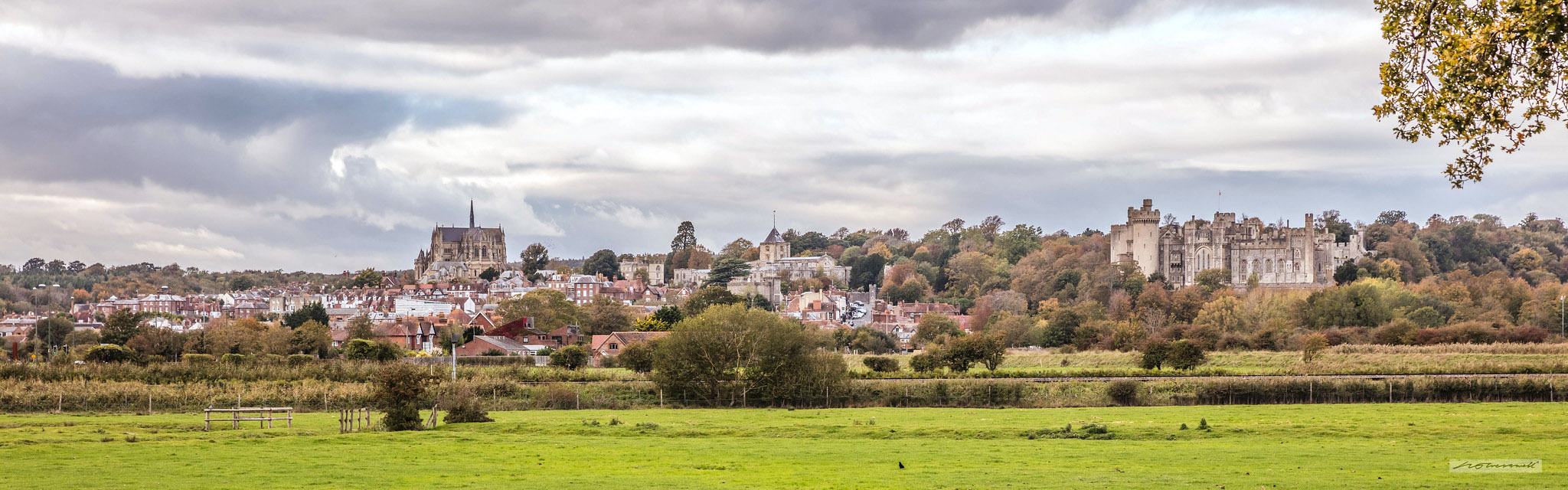 Panorama of the town of Arundel and Arundel Castle across the flood-plain of the River Arun by Neil Cresswell.jpg
