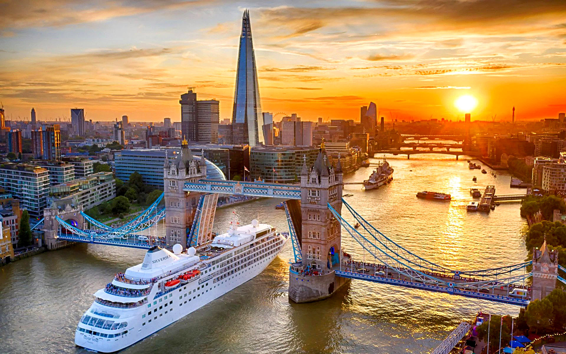 The Silver Wind cruise ship passes under Tower Bridge, London by Chris Gorman.jpg