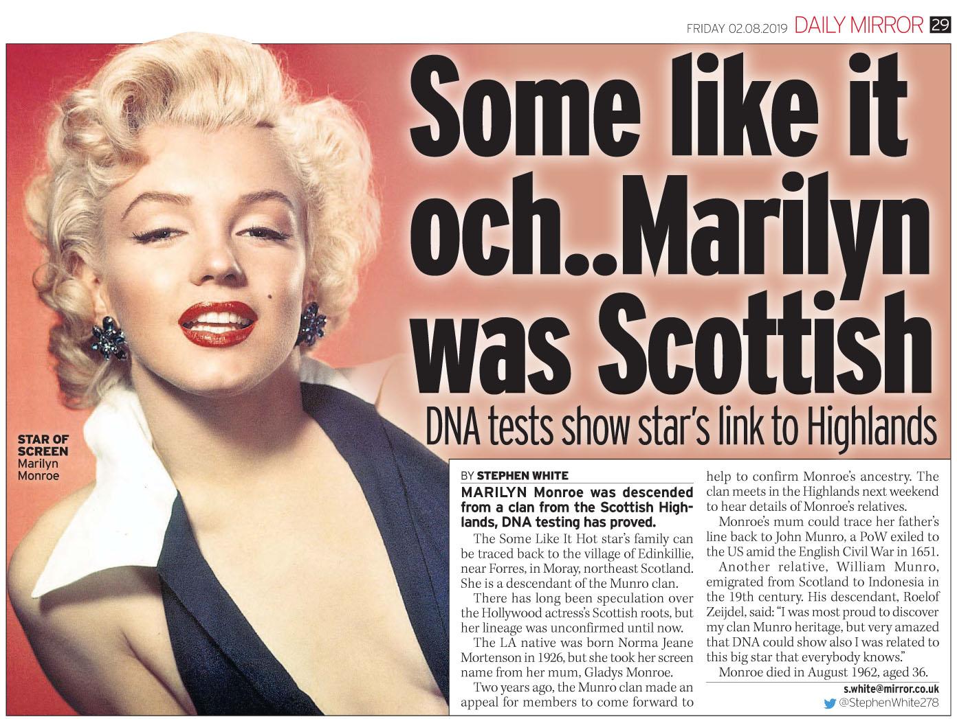 Daily Mirror  August 2 2019 MMonroe.jpg