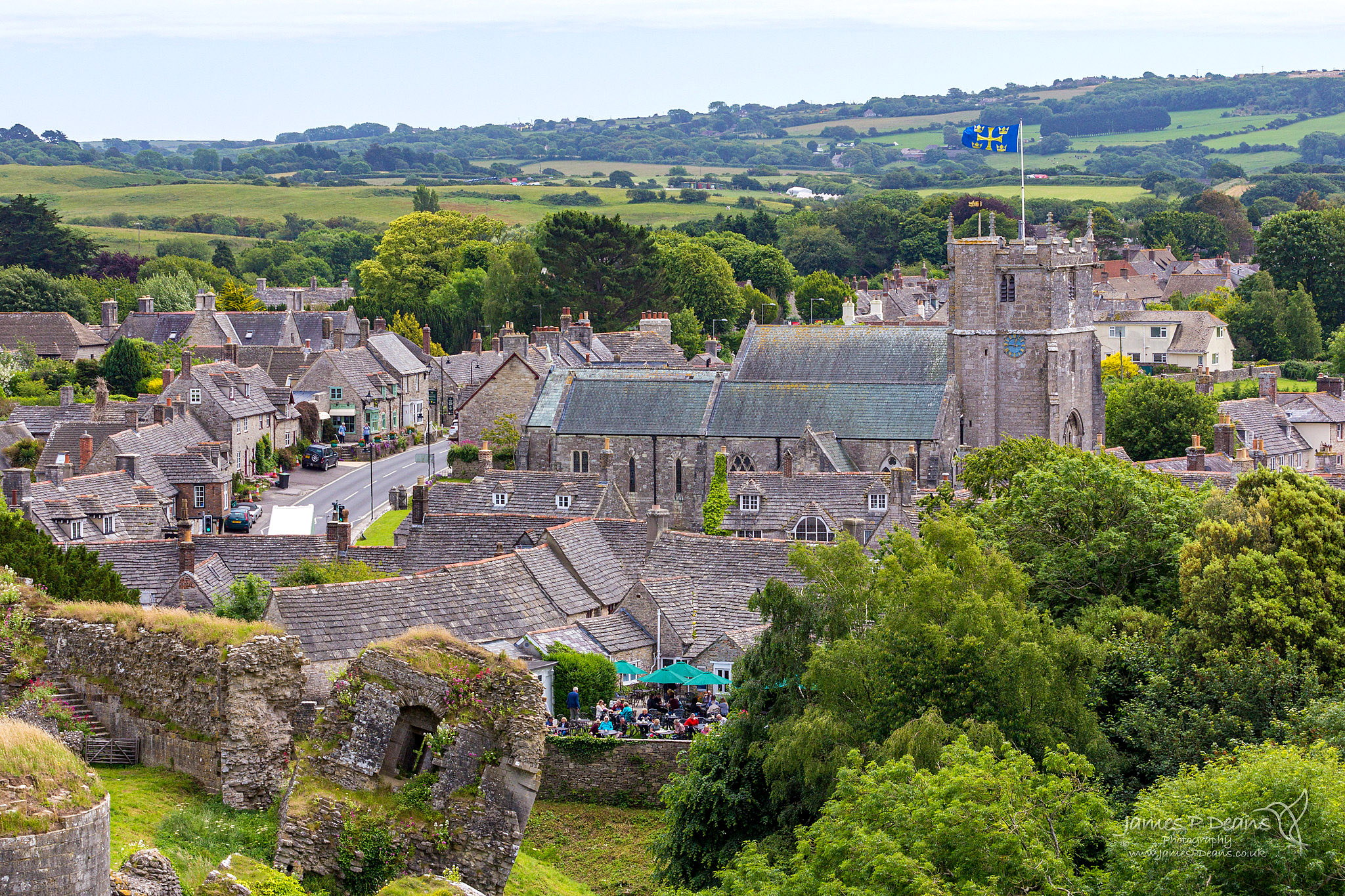 Corfe Castle village viewed from the Castle by James PDeans.jpg