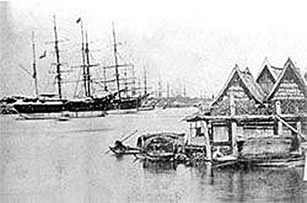 1860 Anchored schooners on the 1860 Chao Praya.jpg
